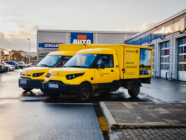 bright yellow van